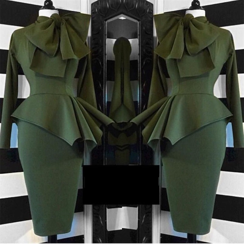 Elegant ruffle army green long sleeve lady dress