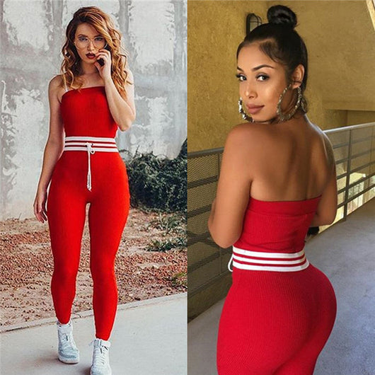 Ladies bodycon red strapless off shoulder romper sexy white full length romper  jumpsuit