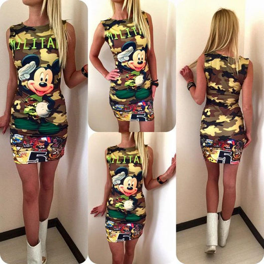 Women Dress O Neck Sleeveless Cartoon Print Camouflage