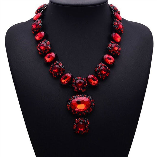 Luxury Vintage Crystal Flower Chain Statement Multi colors Necklace