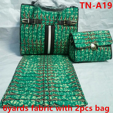 6 yard  of dutch wax African Sewing Clothes and 2 Bags Sets - Owame