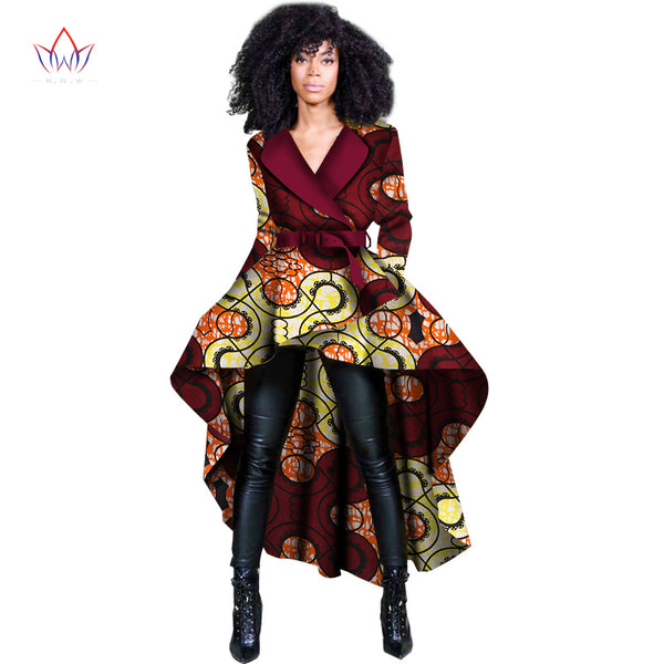 African Traditional Dashiki Top Trench Africa Clothes  for Women