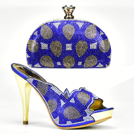 Luxury Italian Crystal Shoe and Matching Clutch Bags Sets -011347