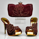 Luxury Italian Crystal Shoe and Matching Clutch Bags Sets -011345