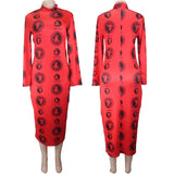 Multicolors Fashion polyester  Long Sleeve dress