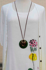 Vintage Ethnic Bohemian Natural Wood Long Necklace - Owame