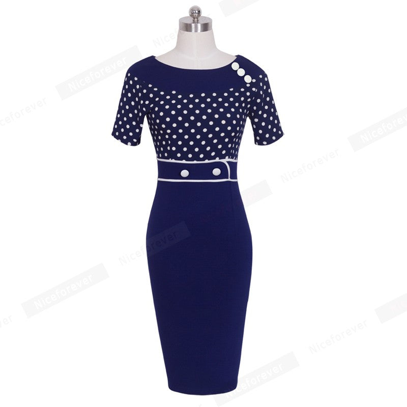 Vintage Elegant Dot Sheath Fitted Colorblock Contrast Summer Women Casual Wear To Work Office Business Bodycon Pencil Dress B69