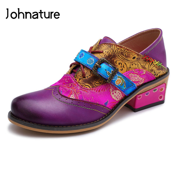 Johnature 2019 New Spring/autumn Handmade Retro Genuine Leather Round Toe Flower Sewing Mary Janes Women Shoes Pumps Med Heels