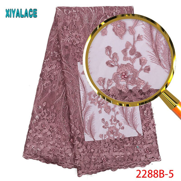 Onion African Lace Fabric High Quality Lace Fabric 2018 Embroidery Nigerian Wedding Lace Fabric For Cheap Tulle Lace PGC2288B-2
