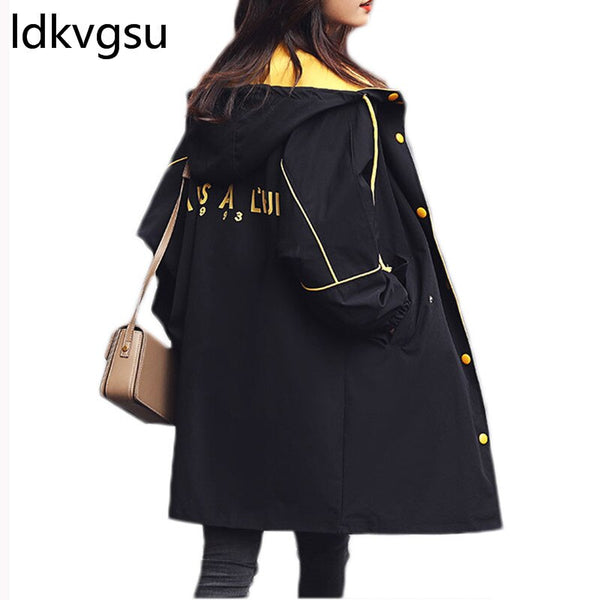 Spring Trench Coat Women 2019 New Hooded Fashion Simple Street Outwear Korean Loose Long Trench Mujer oto o Windbreaker f013