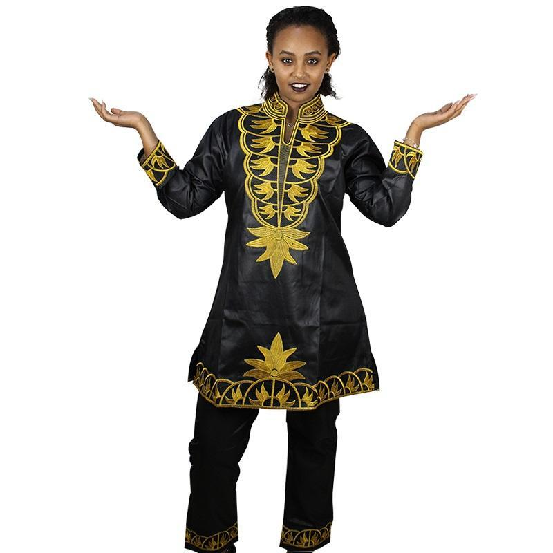 2 Sets African Women Dashiki soft material embroidery design top with pants