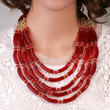 African Nigerian beads jewelry set  braid Necklace earrings dubai jewelry sets for women