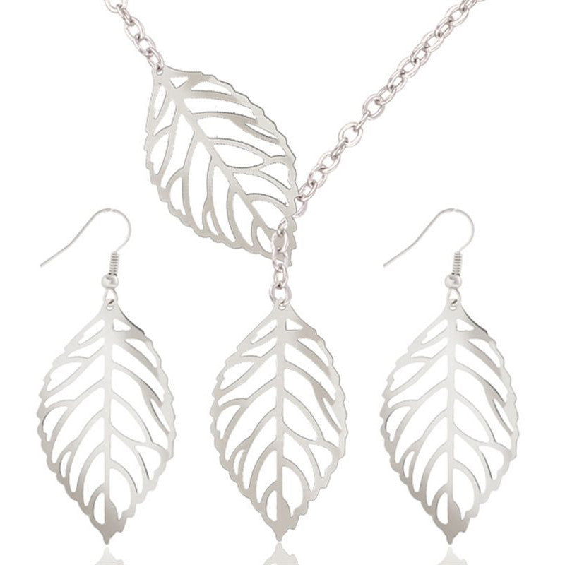 Leaf Jewelry Sets, Leaf Earrings Silver Filigree Dangle Earrings Bohemian Earrings,Boho Chic Woodland Wedding Earrings Valentine's Day, Chrismas Gift for Her - Owame