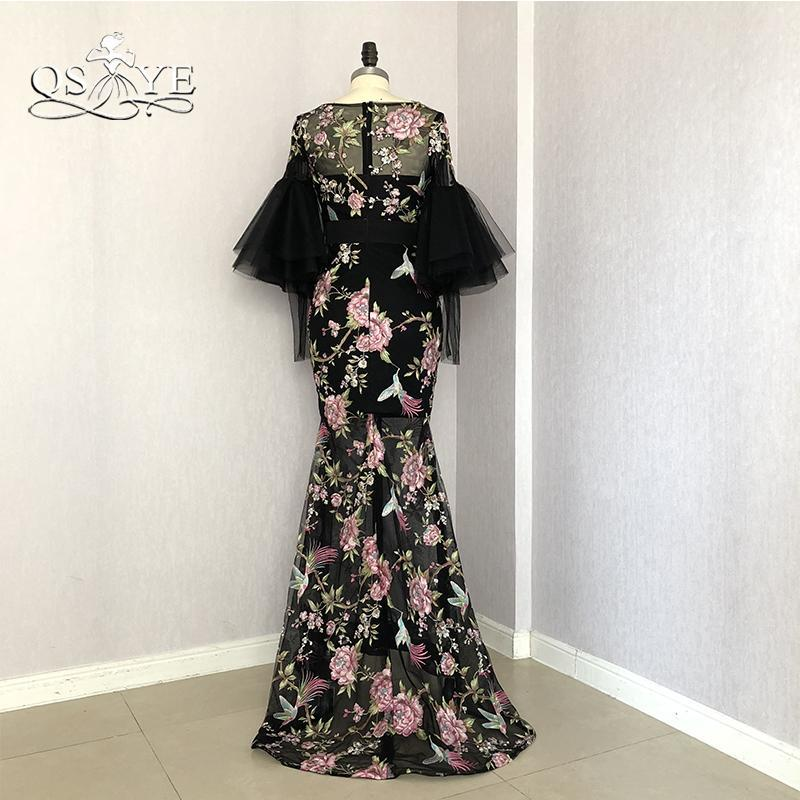2018 New Saudi Arabia Formal Evening Dresses 3D Print Flowers Long Sleeves Sexy Black Mermaid Prom Dress Long Party Gown