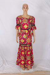 African Ankara Traditional Top +Skirt +Headwrap For Women one size