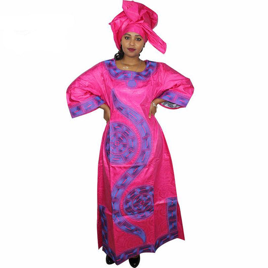 Dashiki African Women soft bazin embroidery Gown and scarf Clothing, Ankara dress,Dashiki Dress, African Dresses,caftan plus size - Owame