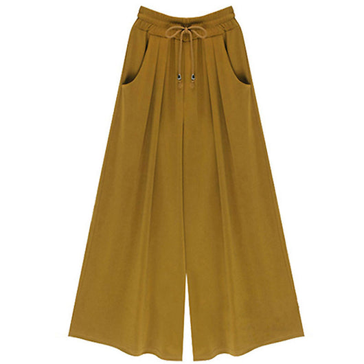 Loose Pant Elastic Waist High Solid Pants Fashion Style Ladies Wide-Leg Palazzo Trousers