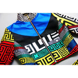 2 Pieces Geometric Tribal Ethnic Runway Long Sleeve Blouse Top+Mini Skirt  Fashion Dress