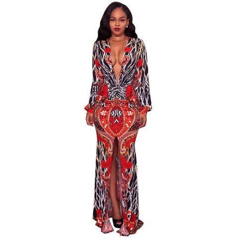 African Printing Deep V Back women's Dresses