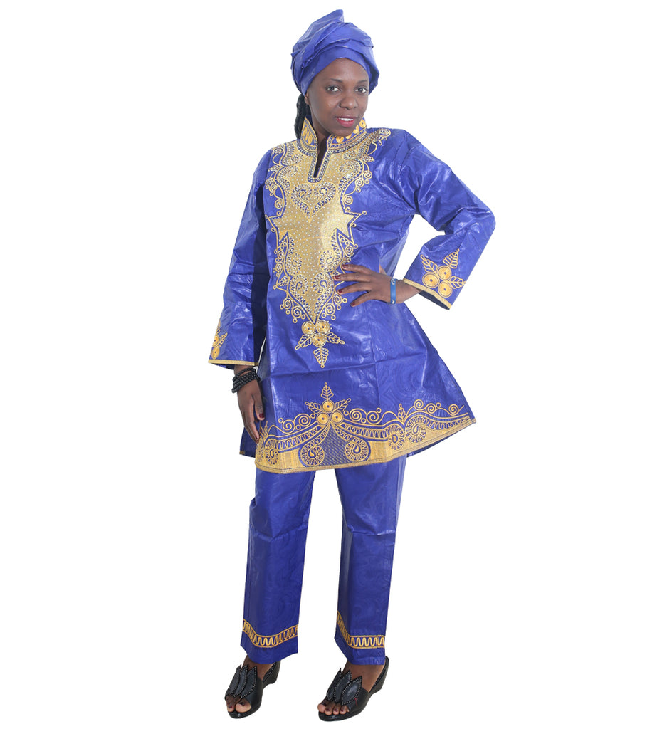 Fashion Lady Brocade Long Sleeve Dress and Pant Africa Dress