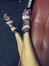 Rainbow Tassel Embellished Gladiator Peep Toe High Heels Woman Ankle Boots Back Zipper Shoes