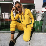 Women yellow Red Crop Top And Pants Tracksuit Sets