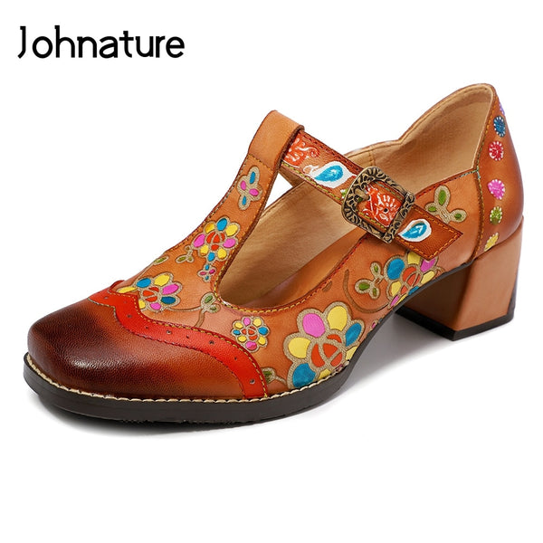 Johnature 2019 New Summer Genuine Leather Buckle Strap Casual Retro Hand-painted Sewing Mary Janes Flower Sandals Women Shoes