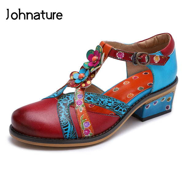 Johnature 2019 New Retro Genuine Leather Round Toe Square Heel Print Hollow Buckle Strap Comfortable Women Sandals Med Heels