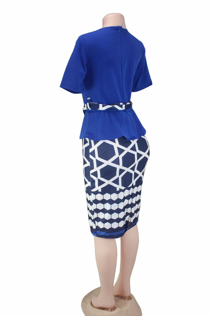 Shortsleeve Top and Skirt with Belt For Lady
