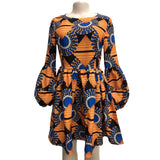 Fashion African Bohemian Print Dashiki Puff Sleeves Party Dresses O Neck Knee Length Beach Sundress
