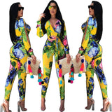Sexy Female Digital Printing Two-piece Long Sleeves And Pants