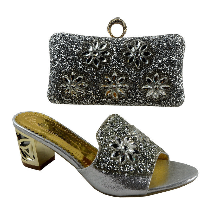Luxury Italian Crystal Shoe and Matching Clutch Bags Sets