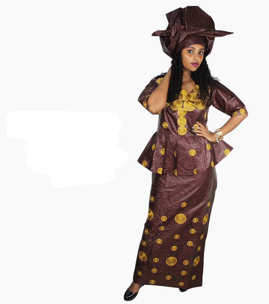 African Dashiki Skirt wrapper and Blouse,Brocade dress and Scarf for woman