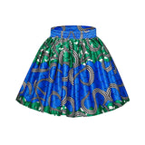 African Print High Waist Patchwork Pleated Skirt