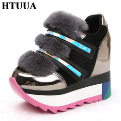 HTUUA 2018 New Autumn Winter Women Shoes Furry Fur Increased Internal Platform Shoes 12CM High Heels Wedge Pumps SX1733