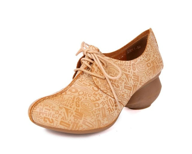 561b1c2b83 HUIZUMEI female casual nude shoes genuine leather round toe natural  handmade chunky heel shoes. Hover to zoom