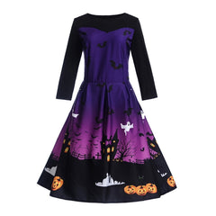 Halloween Pumpkin Print Vintage Swing Women Dress Winter Pleated Pullover Zipper Ladies Party Hot Sale Elegant Blue Chic Dresses