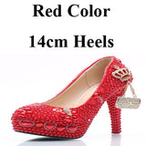 Handmade Wedding Shoes Red Pearl and Rhinestone Bride Shoes Round Toe Platform Women Party Prom High Heels Plus Size 11 and 12