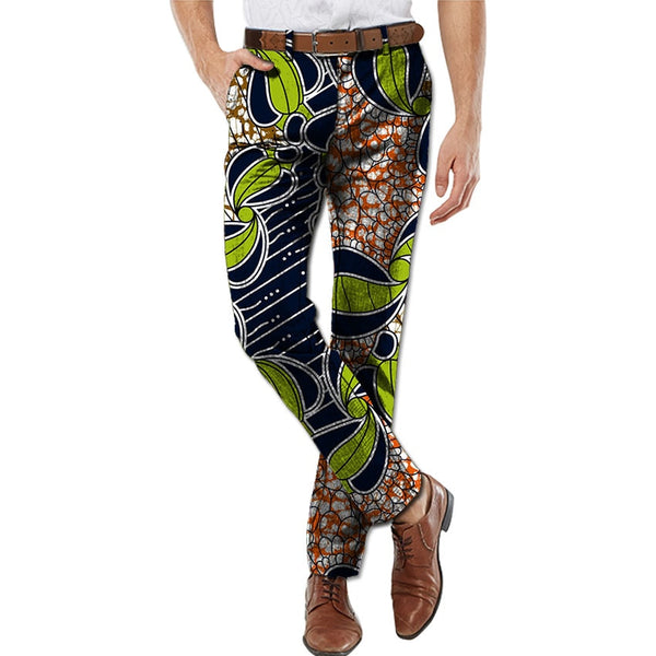 Handsome african men long pants african trousers fashion printing cotton fabric design brightly colored dashiki africa clothing