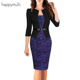 Happymulti Women Dress Autumn Office Lady Pencil Floral Three Quarter Sleeves Empire Double-Layer Female Dresses