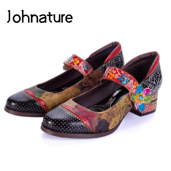 Johnature Genuine Leather Retro Pumps Women Shoes Hook & Loop 2019 New Autumn Round Toe Casual Flower Square Heel Ladies Shoes