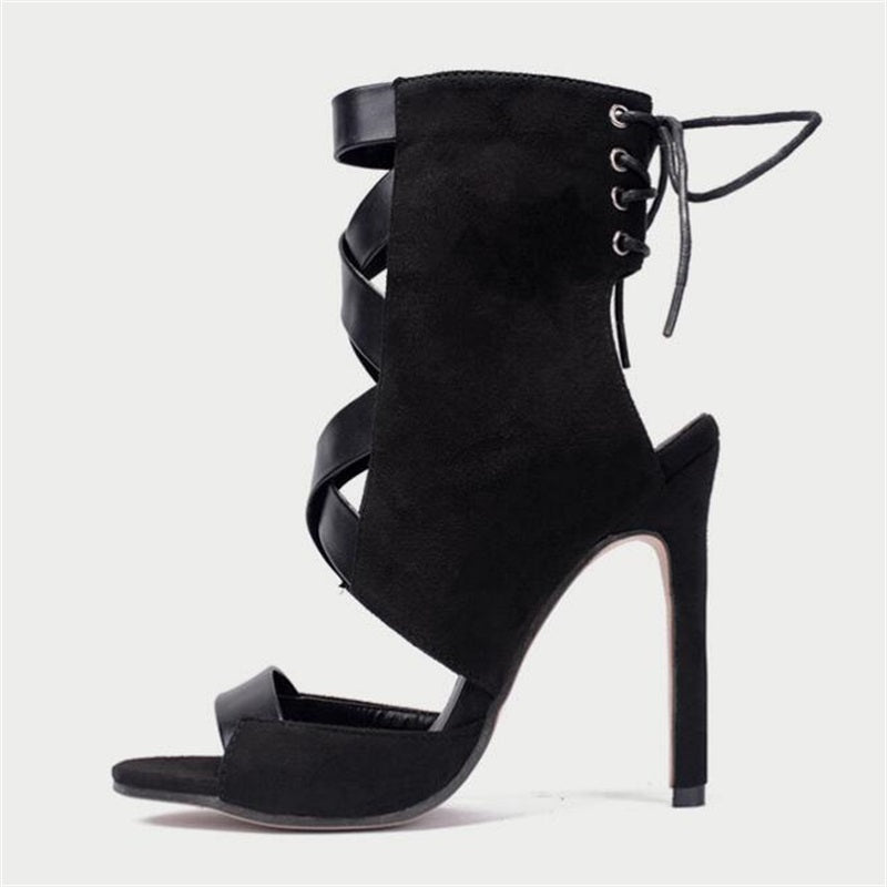 ... HiHopGirls 2018 Hot Sexy party Women Lace-Up hollow Ankle Strap Cross  tied Heel back ... 2483d47cc545