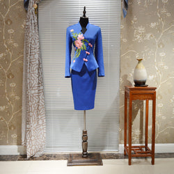 High End New Designer Blazers Suit Handmade Office Lady Skirt Suits with Embroidery Vintage Female Suits