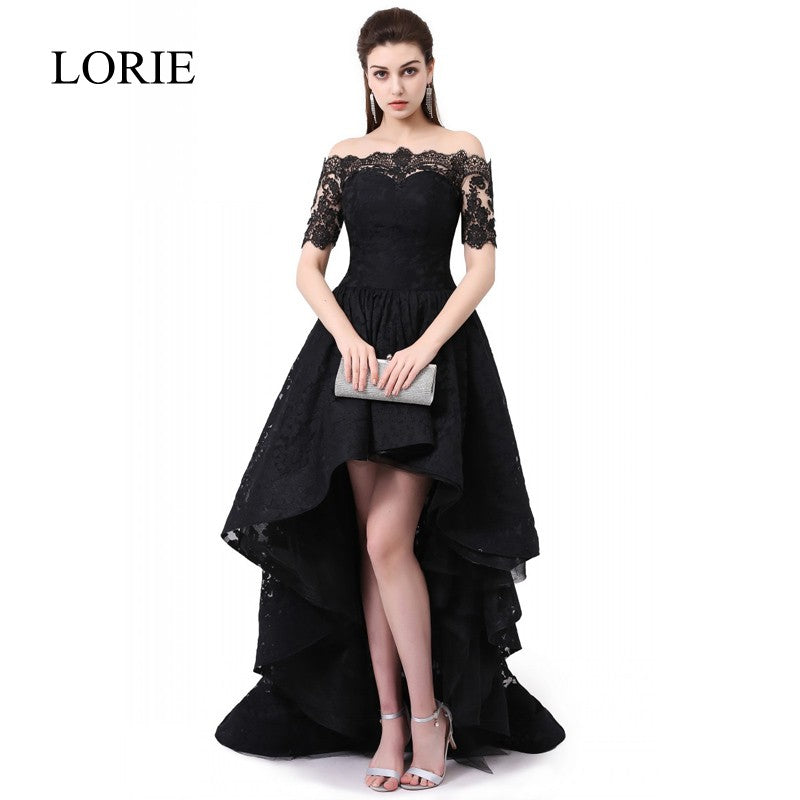 a8c403bb8 High Low Black Lace Evening Dress 2018 LORIE Boat Neck Elegant Women Long  Prom Dress Vestido. Hover to zoom
