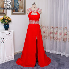 High Neckline Cutout Side with Sequin Beading Hot Red Evening Dresses Front Slit Sexy A-line Prom Gowns with Good Price