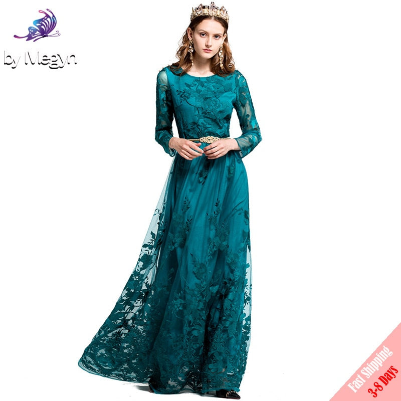 05be278d2997d High Quality 2017 Fashion Designer Party Maxi Dress Women's Full Sleeve  Vintage Mesh Embroidered Runway Maxi Dress Free DHL
