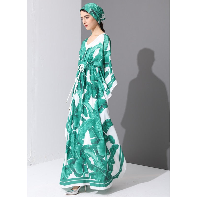 05a71d3cb2182 High Quality 2017 Runway Fashion Designer Maxi Dress Women's Batwing Sleeve  Green Palm Leaf Floral Print Loose Casual Long Dress