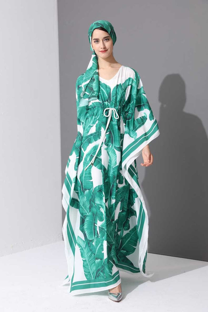 8bd49d7a1ac ... Maxi Dress Women s Batwing Sleeve Green Palm Leaf Floral Print. Hover  to zoom