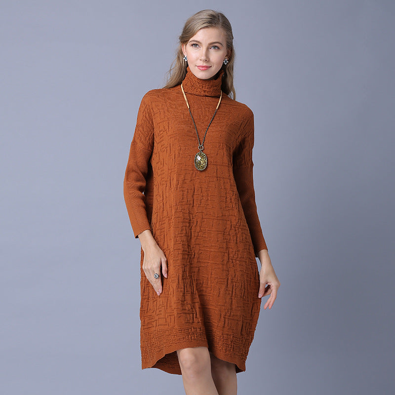 0715873d18 ... Women Turtleneck Sweaters Pullovers Knitting Black Blue Long Loose Thin Sweaters  Dress. Hover to zoom