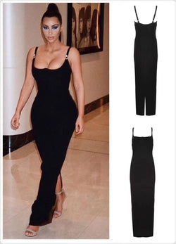 High Quality Celebrity Black Slip Long Rayon Bandage Dress Homecoming Party Bodycon Dress